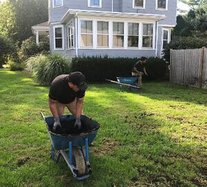 top dressing with compost organic lawn care
